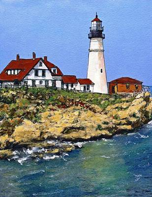 Maine Coast Drawing - Portland Head Light House by Randy Sprout