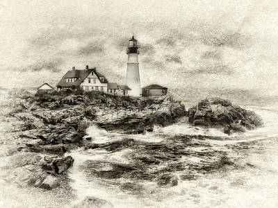 Digital Art - Portland Head Light by JHR photo ART