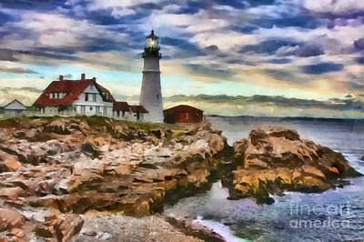 Portland Head Lighthouse In Portland Maine Art Print