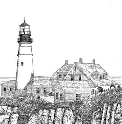 Maine Landscapes Drawing - Portland Head Lighthouse by Tim Murray