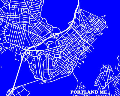 Portland Maine City Map Streets Art Print   Art Print by Keith Webber Jr