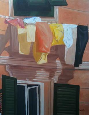 Portofino Italy Painting - Portofino Laundry by Linda Scott