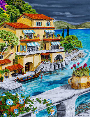 Portofino Villa Art Print by Robert Thornton