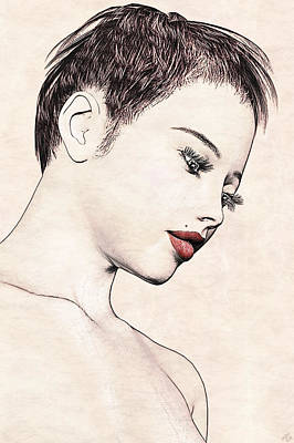 Portrait - No. 10 - Red Lips Art Print