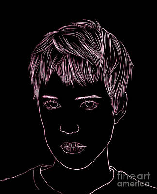 Portrait Drawing Art Print by Bou Lemon