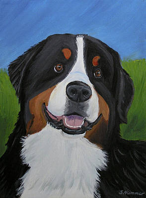Painting - Portrait Of A Bernese Mountain Dog by Sharon Nummer
