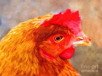 Rooster Digital Art - Portrait Of A Chicken by Wingsdomain Art and Photography