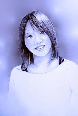 Art Print featuring the drawing Portrait Of A Japanese Girl by Tim Ernst