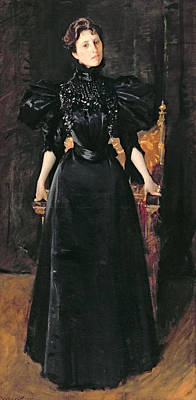 Portrait Of A Lady In Black Art Print by William Merritt Chase