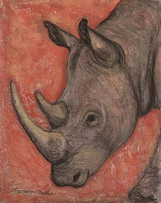 White Rhino Painting - Portrait Of  A White Rhino by Sarojini Muller