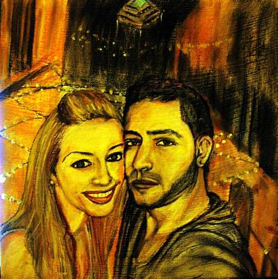 Portrait Of A Young Couple Art Print