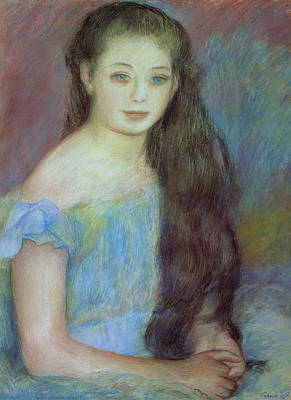 With Blue Painting - Portrait Of A Young Girl With Blue Eyes by Pierre Auguste Renoir