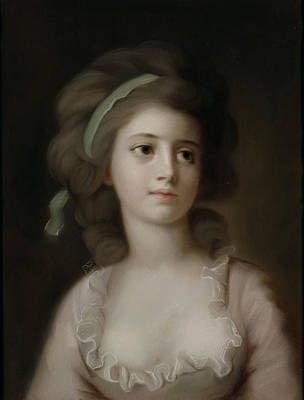 French School Painting - Portrait Of A Young Lady by French School