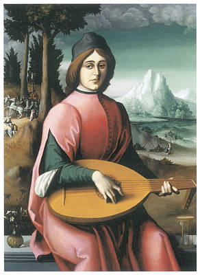 Portrait Of A Young Man With A Lute Art Print by Bachiacca