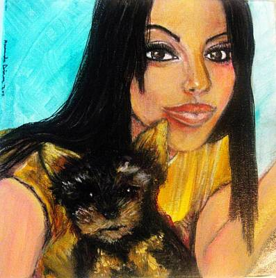 Pastel - Portrait Of A Young Woman And Her Puppy 2 by Amanda Dinan