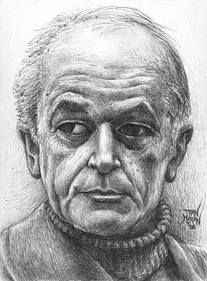 Drawing - Portrait Of An Old Man by Dan Moran