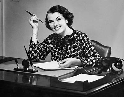 Portrait Of Businesswoman At Desk Art Print by George Marks