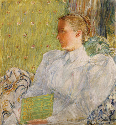 Library Painting - Portrait Of Edith Blaney by Childe Hassam