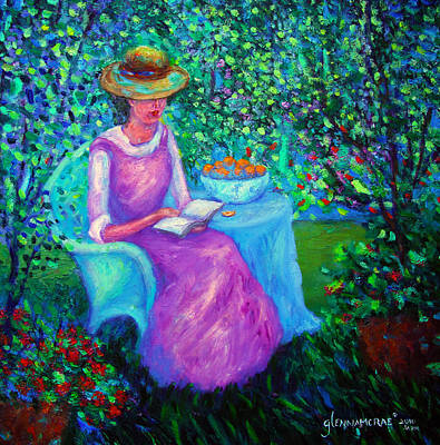 Portrait Of Ellsabeth In Her Garden Art Print by Glenna McRae