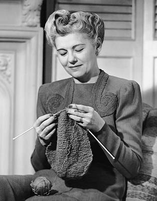 Portrait Of Mature Woman Crocheting Art Print by George Marks