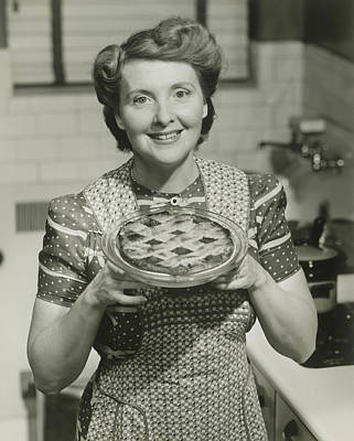 Portrait Of Mature Woman Holding Pie Art Print by George Marks