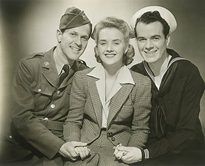 Woman With Cameras Photograph - Portrait Of Mature Woman With Soldier And Sailor, Smiling by George Marks