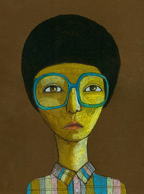 Individuality Digital Art - Portrait With Glasses by Jenny Meilihove