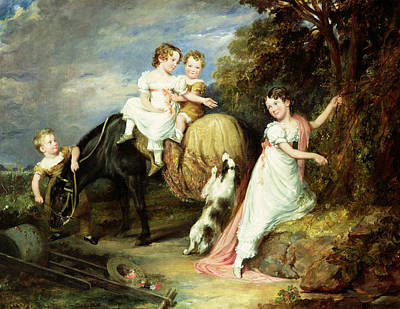 Girl Riding Horse Painting - Portraits Of The Children Of The Rev. Joseph Arkwright Of Mark Hall Essex by John Hayter