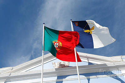 Portugal And Azores Flags Art Print