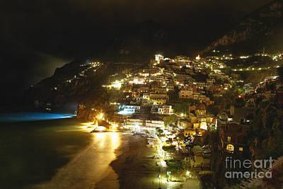 Positano Nightscape Art Print by George Oze