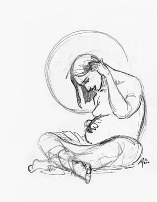Miguel Art Drawing - Post Annunciation by Miguel De Angel