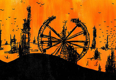 Painting - Post Apocalyptic Carnival Skyline by Jera Sky