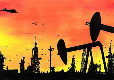 Post Apocalyptic Oil Skyline Art Print by Jera Sky