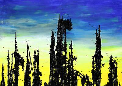 Painting - Post Apocalyptic Skyline 2 by Jera Sky