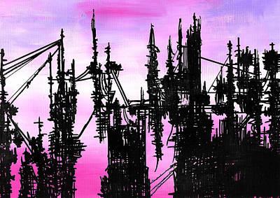 Painting - Post Apocalyptic Skyline by Jera Sky