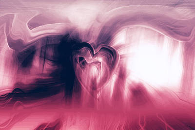 Abstract Hearts Digital Art - Postcard by Linda Sannuti