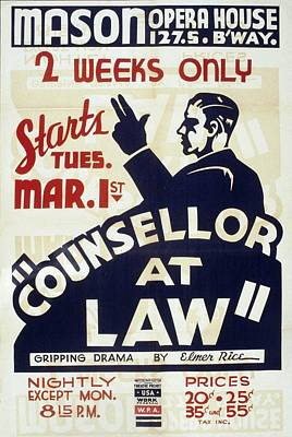 Elmer Photograph - Poster Advertising Counselor At Law by Everett
