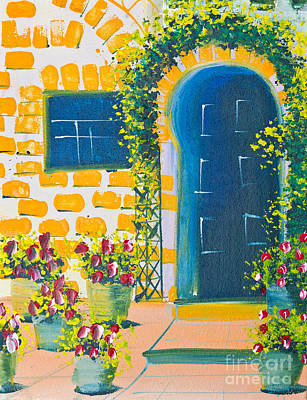 Poster Color Drawing Door And Flowers Art Print by Mongkol Chakritthakool