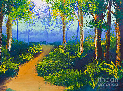 Poster Color Drawing Walk Way In Forest Art Print by Mongkol Chakritthakool