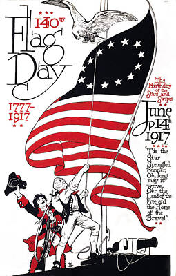 Poster For 140th Flag Day, 1777-1917 Art Print by Everett