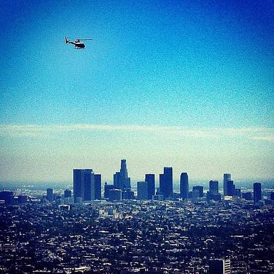Helicopter Photograph - Posting This One Of Downtown #la From A by Loren Southard