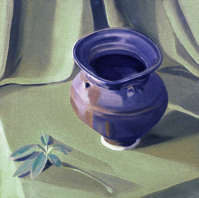 Painting - Pot With Schefflera Sprig 1991 by Nancy Griswold