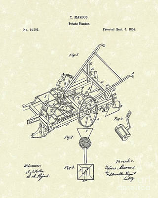Potato Drawing - Potato Planter 1864 Patent Art by Prior Art Design
