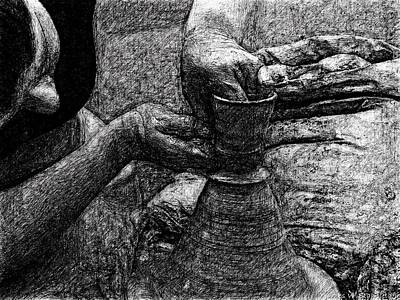 Clay Painting - Potter In Hard Ink Drawing Style by James Stanfield