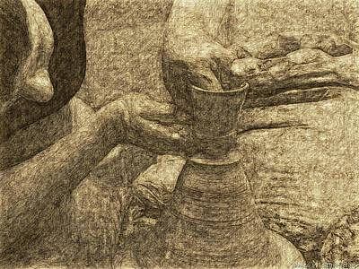 Crete Painting - Potter In Pencil Drawing Style by James Stanfield
