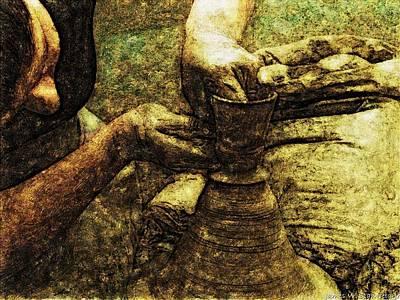 Potter In Renaissance Oil Art Print by James Stanfield