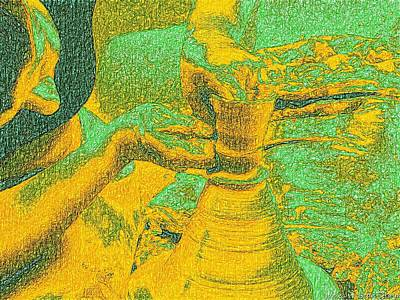 Pottery Painting - Potter In Van Gogh Bright Style by James Stanfield