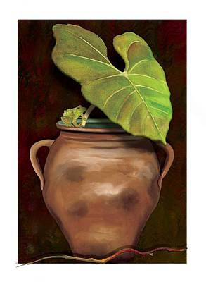 Art Print featuring the painting Pottery Jar by Anne Beverley-Stamps