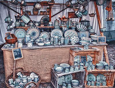 Tableware Digital Art - Pottery Market by Jutta Maria Pusl
