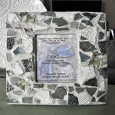 Pottery Mosaic Frame Original by Amanda  Sanford